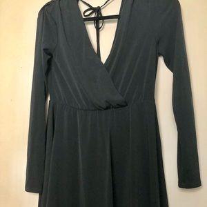 Black Long Sleeve Faux Wrap Mini Dress